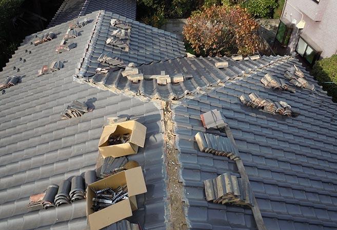 屋根 棟・ぐし工事:施工中