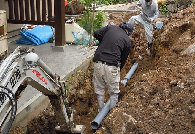 下水道工事:施工中