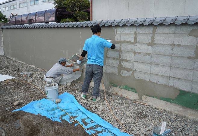 擁壁工事:施工中